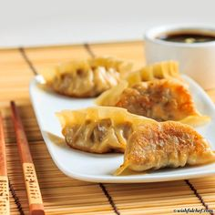Pan Fried Pork #Dumplings with Mushrooms // wishfulchef.com #ChineseNewYear