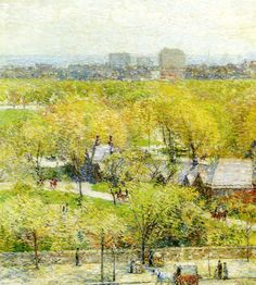 Across the Park Frederick Childe Hassam - 1904 Private collection Painting - oil on canvas Height: 70.5 cm (27.76 in.), Width: 62.9 cm (24.76 in.)