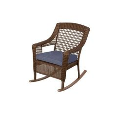 Hampton Bay Spring Haven Brown All Weather Wicker Patio Rocking Chair With  Sky Cushion 66 20312   The Home Depot