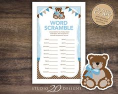 Instant Download Teddy Bear Baby Shower Word by Studio20Designs