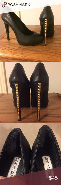 Steve Madden heels Black leather Steve Madden heels with gold studded back heel. Has some glue pieces on the inside of the back of the heel from inserts I had removed. Has some minor scratches. Worn a handful of times Steve Madden Shoes Heels