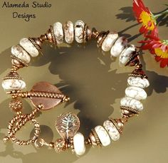 Riddle Me This - Howlite and copper bracelet from alamedastudiodesigns on Ruby Lane
