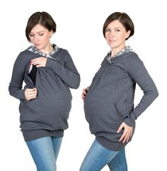 3 in 1 Maternity Pregnancy Sweatshirt Multifunctional Nursing Breastfeeding TUNIC TOP with zippers XXL