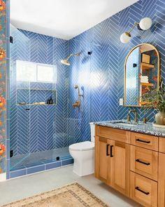 Jaclyn Johnson: Blue Glass Tile | Fireclay Tile | Fireclay Tile Blue Glass Tile, Blue Subway Tile, Blue Tiles, Herringbone Tile Pattern, Chevron Tile, Mosaic Bathroom, Small Bathroom, Bathrooms, Master Bathroom