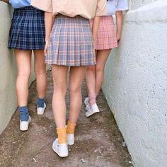 Photo from StyleShare, Tennis Skirt Look Fashion, 90s Fashion, Korean Fashion, Fashion Outfits, Fashion Beauty, Girl Fashion, Plaid Mini Skirt, Plaid Skirts, Mini Skirts