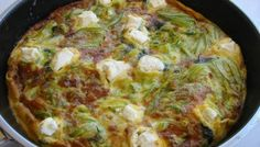 Φριτάτα με κολοκυθοανθούς και κατσικίσιο τυρί Quiche, Canning, Breakfast, Recipes, Food, Morning Coffee, Essen, Quiches, Eten