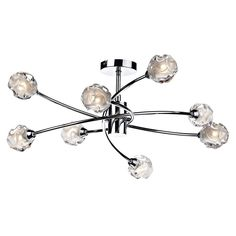 The Seattle from Dar is an Eight Light Semi Flush Ceiling Fitting with four sweeping curved arms each with two sculpted swirling partially frosted glass shades on a polished