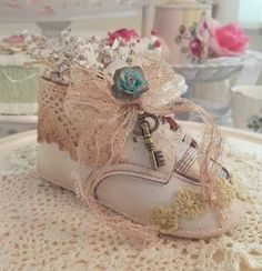 Vintage baby shoes baby shower decorations