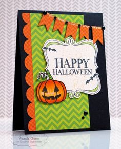 Happy Halloween Card by Wanda Guess #Halloween, #Cardmaking