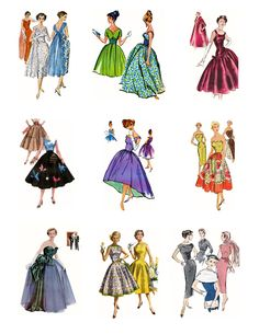 1950s Fashion Collage Sheet 9 images 3 X 3 inches D146