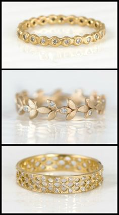 Yellow gold and diamond wedding bands by Melanie Casey engagement ring