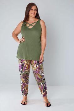 Green & Multi Palm Print Harem Trousers