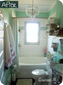 I want this bath minus the color. I think I may go with a neutral slate gray or something less kitschy but the tile and the sink are my favorites.
