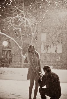 Winter time engagement photo… oh, how I love this, so sweet and joyous