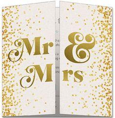 Klassieke trouwkaart met gouden confetti en Mr en Mrs in goud.