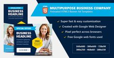 awesome Multipurpose Business enterprise Corporation - HTML5 Banner Advertisements (Ad Templates)