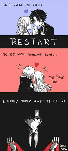 "If I knew you would...restart to be with someone else...I would never have let you go...text, sad, comic, Jumin, 707, heart, ribbon, MC, couple, the ""true"" end; Mystic Messenger"