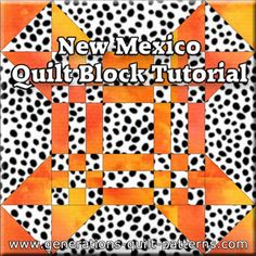 """Super simple New Mexico quilt block pattern instructions in three sizes: 7-1/2"""", 15"""" and 30"""""""