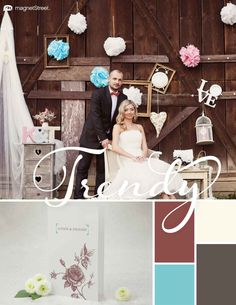 Custom Brown, Ivory, Turquoise, and Slate Spring Wedding Color Palette | Wedding Color Trends | MagnetStreet Weddings