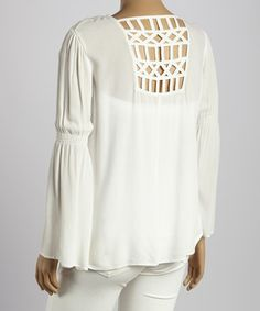 Loving this Perch by Blu Pepper Ivory Netted Hi-Low Top - Plus on #zulily! #zulilyfinds