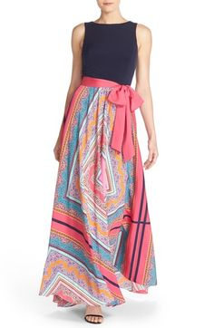 Eliza J Scarf Print Jersey & Crêpe de Chine Maxi Dress (Regular & Petite) available at #Nordstrom