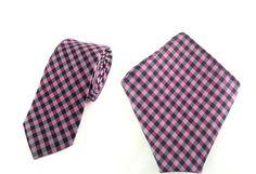 Mens 6cm Violet Black Whiten Stripes Skinny Tie with Pocket Square.