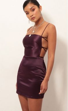 Lulu Satin Lace-up Dress In Purple Style: This stunning satin dress is a real show-stopper. Features a classy square neckline and lace-back detailing. Made in our luxurious satin fabric in a shade of plum purple. Pairs perfectly with your favorite Purple Bodycon Dresses, Hoco Dresses, Satin Dresses, Tight Dresses, Pretty Dresses, Lace Dress, Satin Short Dress, Bodycon Dress Short, Purple Party Dress