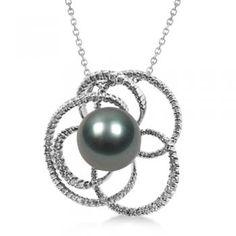 Black Tahitian Cultured Pearl & Diamond Pendant 14K White Gold 11mm-Allurez.com