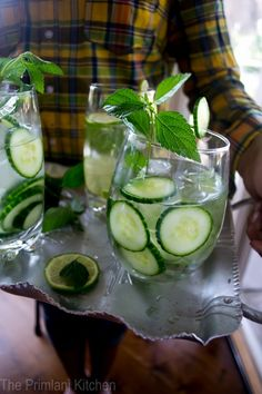 Add cucumber and lime to make your water alkaline!   Your body will love you!!!!!