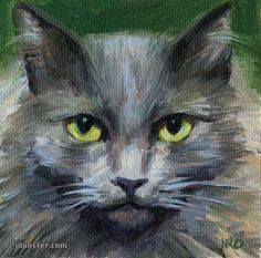 "Daily Paintworks - ""GREY & GROUCHY CAT HEAD"" by J. Dunster"