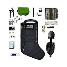 Tactical Christmas Stocking Pre-Filled with Gifts for Him, Soldiers, Military or Survivalists Set (Black)):
