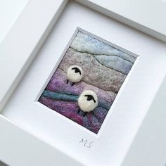 Tilly Tea Dance textile artist miniature sheep landscape in felting and embroidery  https://www.etsy.com/uk/listing/528678905/miniature-fiber-art-picture-sheep-in-the