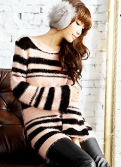 Japanese Style Pink Stripe Sweater