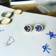 One of a kind iolite and diamond pavé studs - perfect for New Years Eve!