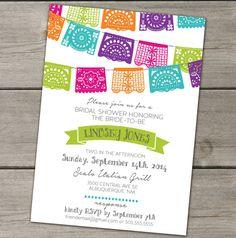 Papel Picado Mexican Paper Banner Fiesta Wedding por TheFunkyOlive