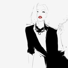Fashion Illustrations by Floyd Grey  #illustration, #drawing, #fashion, #girl, #model, #sexy, #sensual, #black