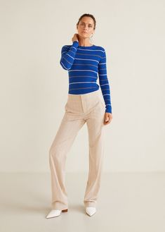 Mango Contrasting Stripes Cotton Sweater - S Mango Fashion, Wool Fabric, Cotton Sweater, Knitting Designs, Fabric Design, Fashion Online, Latest Trends, Contrast, Cool Outfits