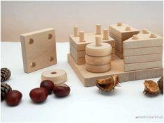Educational natural wooden put-through geometric blocks