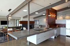 Contemporary Kitchen with Pendant light, High ceiling, European Cabinets, Undermount sink, Brooks Custom Concrete Countertops Concrete Kitchen, Concrete Countertops, Concrete Floor, Concrete Design, Concrete Fireplace, Concrete Stone, Concrete Table, Kitchen Countertops, San Diego