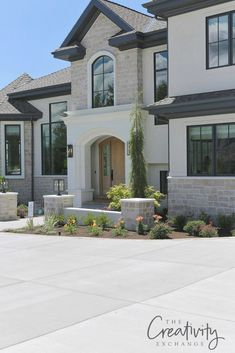 2018 Utah Valley Parade of Homes Recap, Home Decor, European Contemporary Exterior Home built by Raykon Construction. Dream House Exterior, Exterior House Colors, Exterior Design, Stone On House Exterior, Stucco Colors, Cafe Exterior, Bungalow Exterior, Stucco Exterior, Stucco Homes