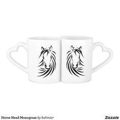 Horse Head Monogram Coffee Mug Set