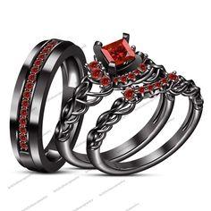 Full Black Rhodium Finish Princess Cut Red Garnet His &Her Wedding Trio Set Ring #br925