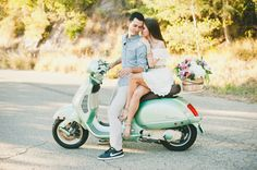 Photography : Onelove Photography Read More on SMP: http://www.stylemepretty.com/little-black-book-blog/2014/08/27/italian-vespa-engagement-in-santa-barbara/