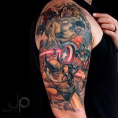 Resultado de imagen para marvel tattoo sleeve black and white
