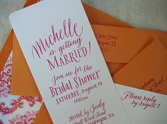 Leigh wells calligraphy, whimsical bridal shower invitations, wedding invitations