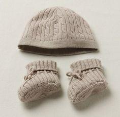 Cable Knit Cashmere Hat & Bootie Set | Cable Knit Cashmere | Restoration Hardware Baby & Child