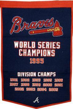 Atlanta Braves Commemorative 1995 World Series Champions Banner. Braves Baseball, Baseball Cards, Baseball Stuff, Atlanta Braves World Series, Atlanta Braves Logo, Mlb Teams, Sports Teams, Sports Shirts, Sports