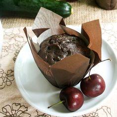 Chocolate Cherry Zucchini Muffins