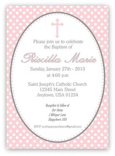 Baptism  Christening Invitation  Polka Dots  by PoshPaperPartiesCo, $12.00