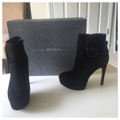 "Via Spiga V-Demetra Ankle Boot Stunning in black suede. Worn twice, in great shape still. These are sexy, heels are 5"" can you rock that? ✨✨FINAL PRICE DROP✨✨firm now, were listed over 100.00 can't take less than 50 after fees. Awesome price for 300 sexy shoes 💗💗💗 Via Spiga Shoes Ankle Boots & Booties"